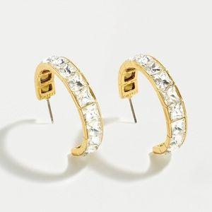 JCREW Square Gem Hoop Earrings NWT OS Crystal
